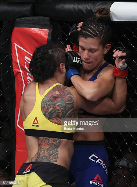 Claudia Gadelha of Brazil and Cortney Casey of the United States during their women's strawweight bout at the UFC Fight Night Bader v Minotouro at...