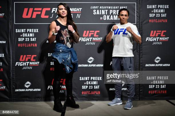 Claudia Gadelha of Brazil and Jessica Andrade of Brazil pose for the media during the UFC Ultimate Media Day at the Park Hyatt on September 20 2017...