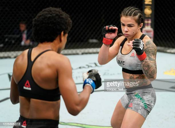 Claudia Gadelha of Brazil battles Angela Hill in their strawweight fight during the UFC Fight Night event at VyStar Veterans Memorial Arena on May 16...