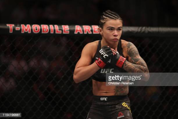 Claudia Gadelha of Brazil enters the octagon in her strawweight fight during the UFC 239 event at TMobile Arena on July 6 2019 in Las Vegas Nevada