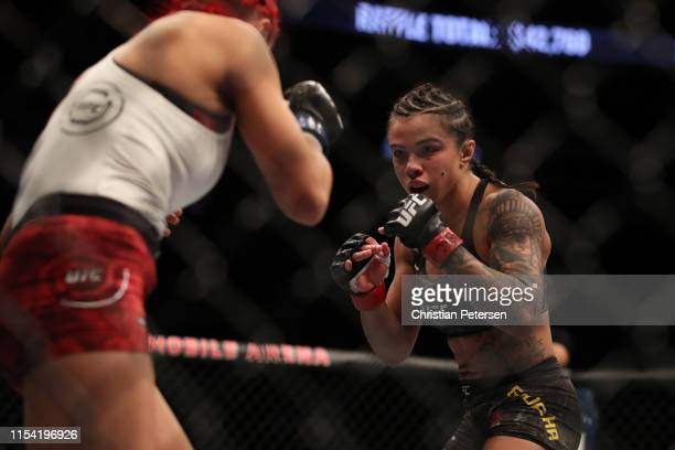 Claudia Gadelha of Brazil faces Randa Markos of Canada in their strawweight fight during the UFC 239 event at TMobile Arena on July 6 2019 in Las...