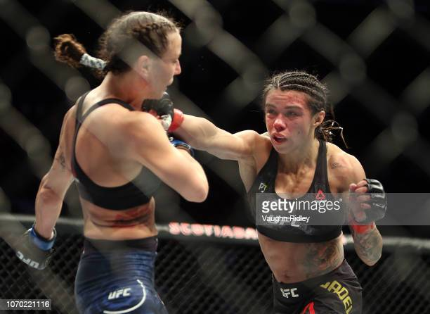 Claudia Gadelha of Brazil fights against Nina Ansaroff of the United States in a strawweight bout during the UFC 231 event at Scotiabank Arena on...