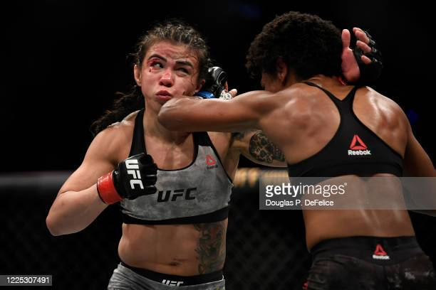 Claudia Gadelha of Brazil fights Angela Hill of the United States in their Women's Strawweight bout during UFC Fight Night at VyStar Veterans...