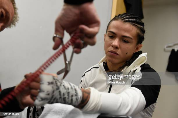 Claudia Gadelha of Brazil gets her hands wrapped backstage during the UFC Fight Night event inside the Saitama Super Arena on September 22 2017 in...