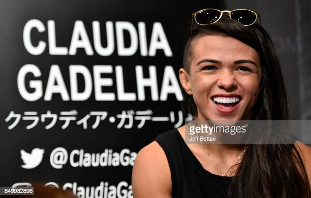 Claudia Gadelha of Brazil interacts with the media during the UFC Ultimate Media Day at the Park Hyatt on September 20 2017 in Tokyo Japan