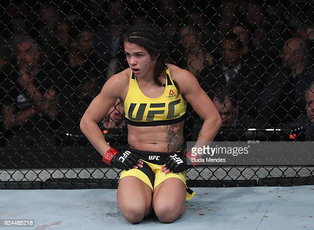 Claudia Gadelha of Brazil looks on during her women's strawweight bout against Cortney Casey of the United States at the UFC Fight Night Bader v...