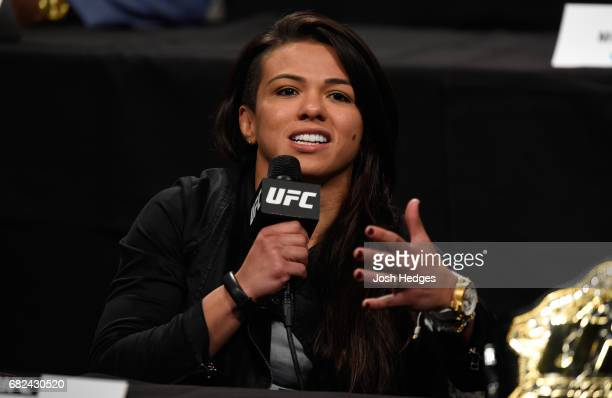 Claudia Gadelha of Brazil speaks to the media during the UFC Summer Kickoff Press Conference at the American Airlines Center on May 12 2017 in Dallas...