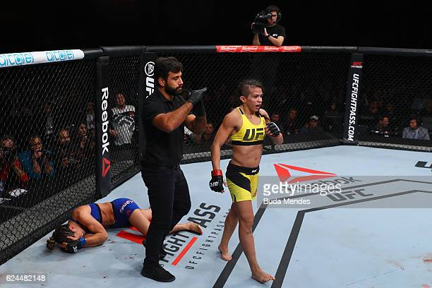 Claudia Gadelha of Brazil walks on after kicking Cortney Casey of the United States during their women's strawweight bout at the UFC Fight Night...