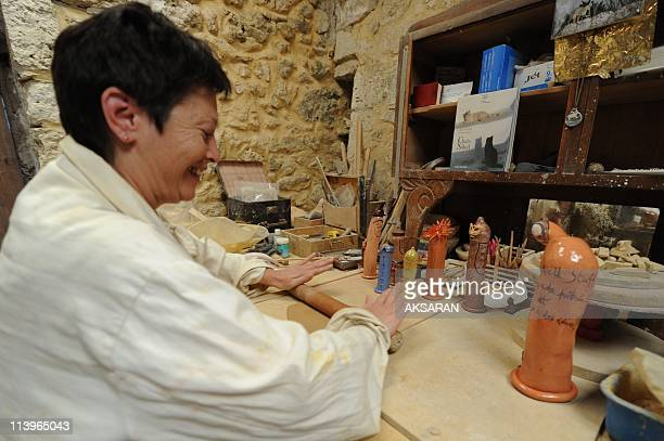 Claudia Garcia ceramic artist at the Gers In Condom France On August 01 2010Claudia Garcia ceramic artist in her studio where she presents the...