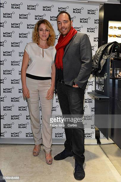 Claudia Gerini and Andrea Pezzi attend Montblanc celebrates Venice Boutique Opening at Montblanc Boutique on Venice on April 05 2014 in Venice