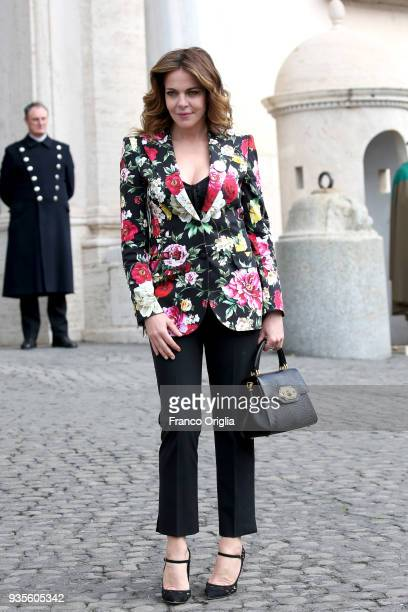 Claudia Gerini arrives for the David Di Donatello nominees presentation at Palazzo del Quirinale on March 21 2018 in Rome Italy