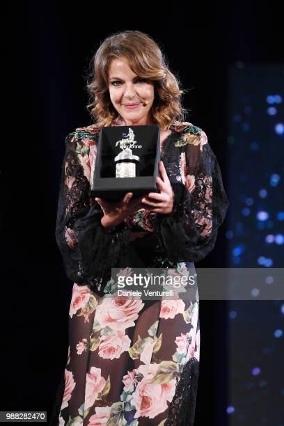 Claudia Gerini is awarded during the Nastri D'Argento Award Ceremony on June 30 2018 in Taormina Italy