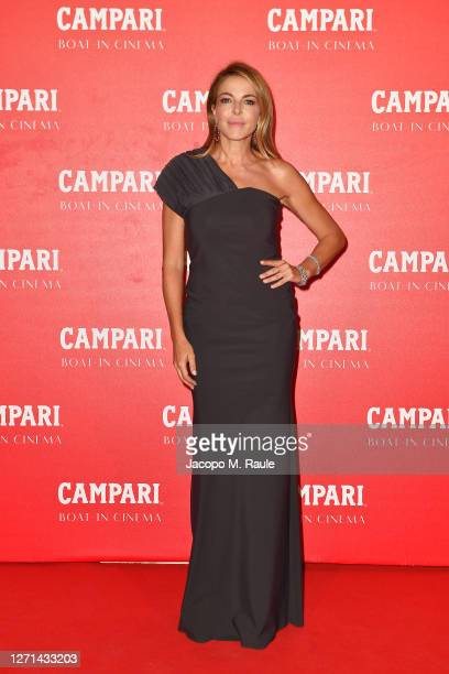 Claudia Gerini is seen at Campari Boat Cinema during 77 Venice Film Festival at on September 08 2020 in Venice Italy