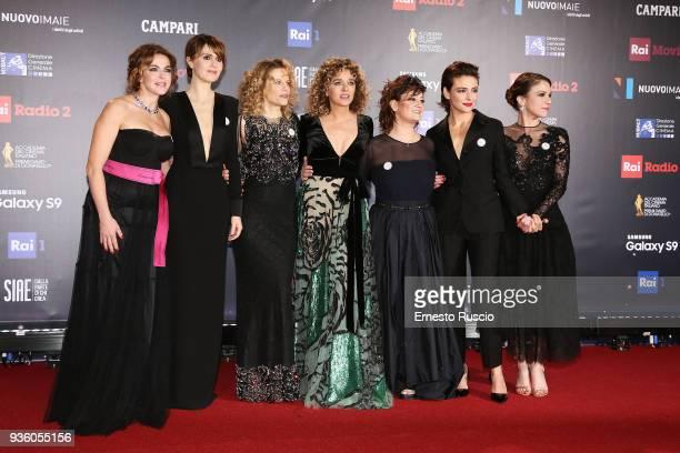 Claudia Gerini Paola Cortellesi Sonia Bergamasco Valeria Golino Giovanna Mezzogiorno Jasmine Trinca and Isabella Ragonese walk the red carpet ahead...