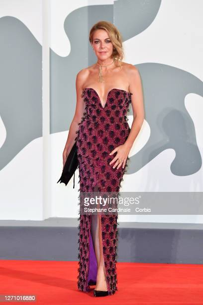 Claudia Gerini walk the red carpet ahead of the movie The World To Come at the 77th Venice Film Festival on September 06 2020 in Venice Italy