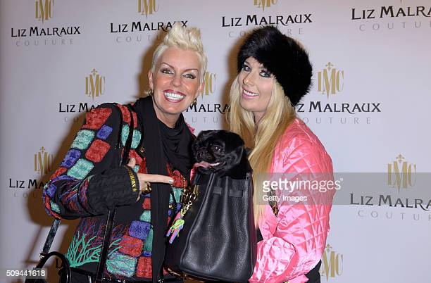 Claudia Guelzow daughter Yolie Kendra and dog Sunshine attend Liz Malraux Fashion Show at Hotel Atlantic on February 10 2016 in Hamburg Germany