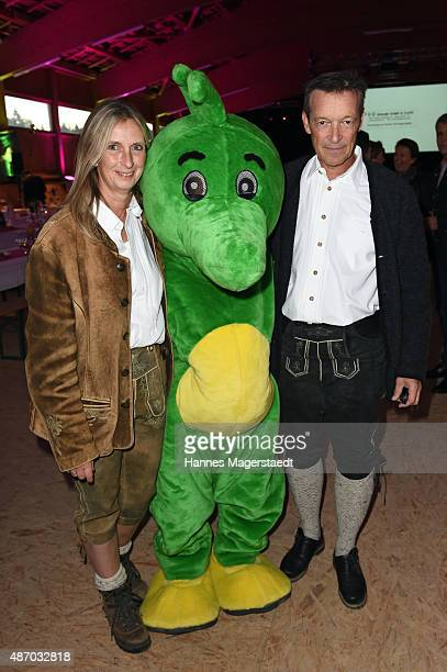 Claudia Heiss and actor Michael Roll attends the 'Tabaluga Golf Cup 2015 Gala' at Reithalle in Tutzing on September 5 2015 in Tutzing Germany