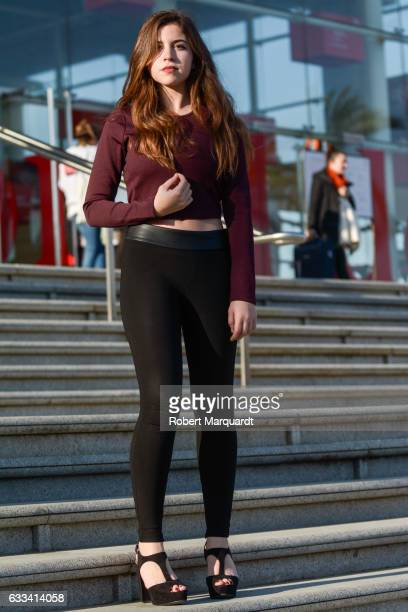 Claudia is seen wearing a Zara sweater and pants at 080 Barcelona Fashion week held at the Teatre Nacional de Catalunya on February 1 2017 in...