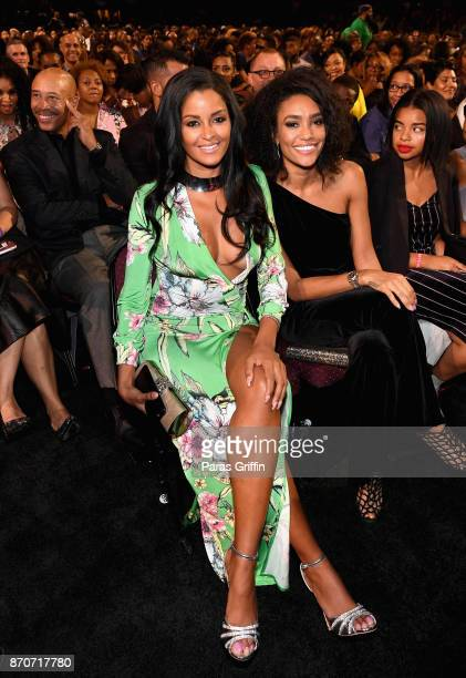 Claudia Jordan and Annie Ilonzeh attend the 2017 Soul Train Awards presented by BET at the Orleans Arena on November 5 2017 in Las Vegas Nevada