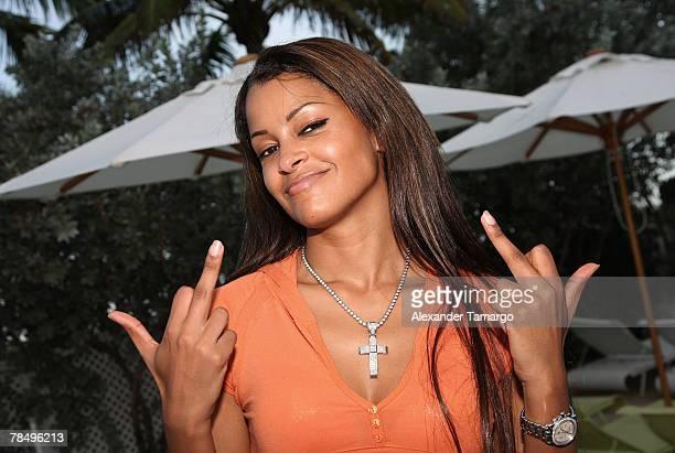 Claudia Jordan attends Jamie Foxx's Sirius Satalitte Radio show ''The Foxxhole'' at the Delano Hotel on December 14 2007 in Miami Beach Florida