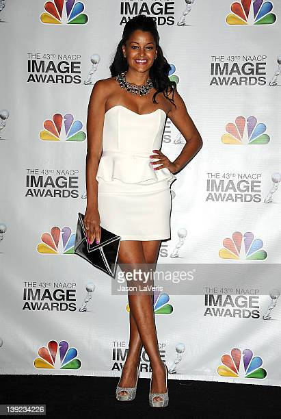 Claudia Jordan poses in the press room at the 43rd annual NAACP Image Awards at The Shrine Auditorium on February 17 2012 in Los Angeles California