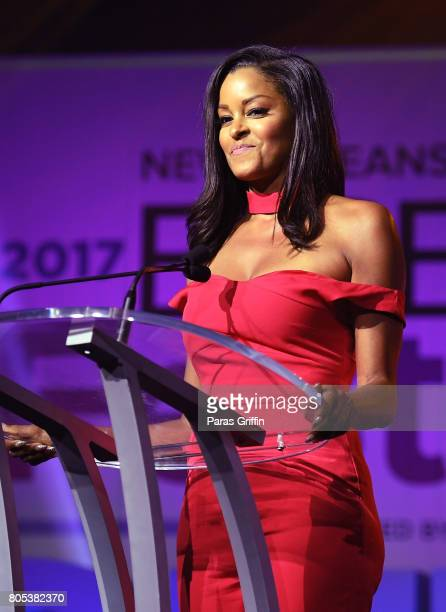 Claudia Jordan speaks onstage at the 2017 ESSENCE Festival presented by CocaCola at Ernest N Morial Convention Center on July 1 2017 in New Orleans...