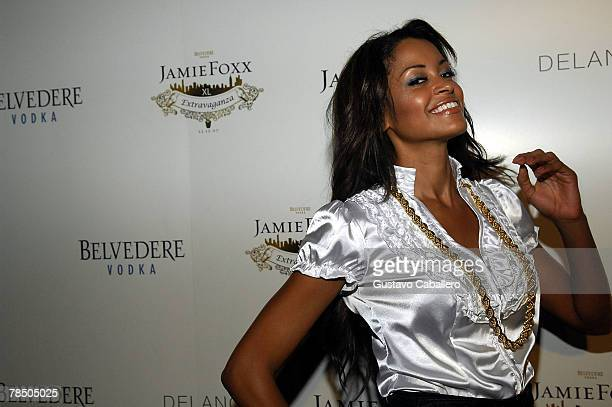 Claudia Jordon arrives at Jamie Foxx's 40th birthday party hosted by Belvedere Vodka at The Florida Room at the Delano Hotel on December 15 2007 in...