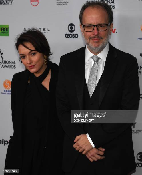 Claudia Jouvin and Jose Eduardo Belmonte arrive for the 45th International Emmy awards gala in New York city on November 20 2017 The International...