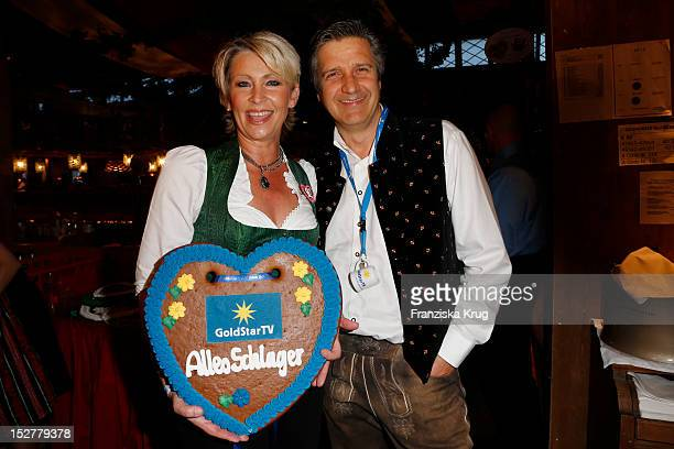 Claudia Jung and Hans Singer attend the 'Goldstar TV Wiesn' as part of the Oktoberfest beer festival at Weinzelt on September 25 2012 in Munich...