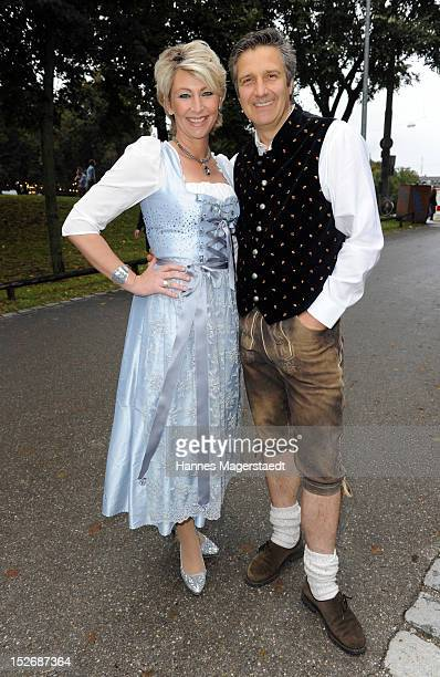 Claudia Jung and her husband Hans Singer attend the Oktoberfest beer festival at Hippodrom on September 22 2012 in Munich Germany