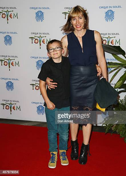 Claudia Karvan and her son Albee Sparks arrive at Cirque du Soleil TOTEM Sydney Premiere on October 28 2014 in Sydney Australia