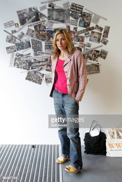 Claudia Karvan attends the Blow Off Hairdressing for Haiti charity event at the People Surry Hills salon on February 8 2010 in Sydney Australia The...