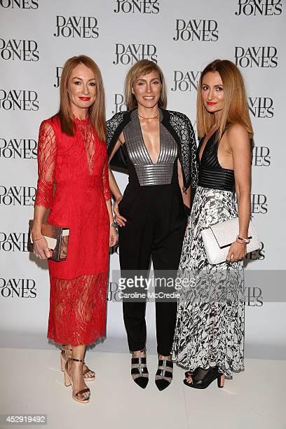 Claudia Karvan poses with Ginger Smart designers Genevieve and Alexandra Smart at the David Jones Spring/Summer 2014 Collection Launch at David Jones...