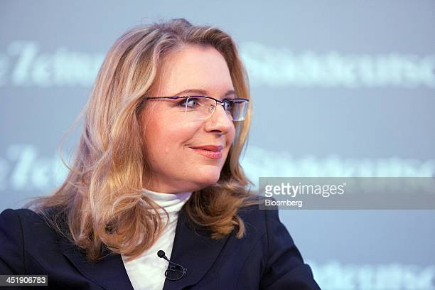 Claudia Kemfert head of the energy unit at the German Institute for Economic Research reacts during the Sueddeutsche Zeitung Economic Forum in Berlin...