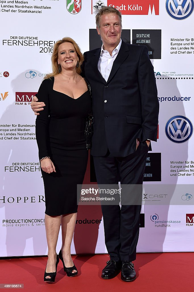 Claudia Kleinert and Michael Souvignier attend the German television award by the Deutsche Akademie fuer Fernsehen at Museum Ludwig on November 28, 2015 in Cologne, Germany.