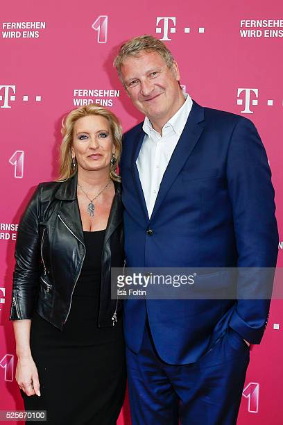 Claudia Kleinert and Michael Souvignier attend the Telekom Entertain TV Night at Hotel Zoo on April 28 2016 in Berlin Germany