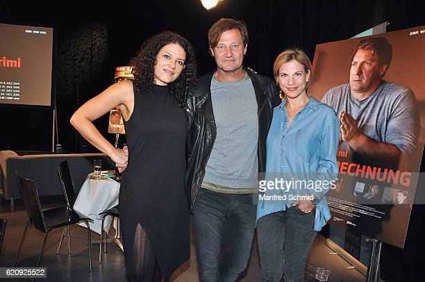 Claudia Kottal Harald Windisch and Kristina Sprenger pose during the 'Landkrimi' presentation in Vienna at ORF Studio 2 on November 3 2016 in Vienna...