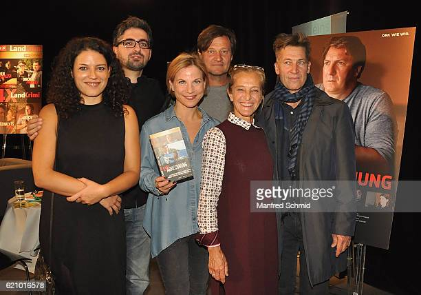 Claudia Kottal Umut Dag Kristina Sprenger Harald Windisch Kathrin Zechner and Tobias Moretti pose during the 'Landkrimi' presentation in Vienna at...