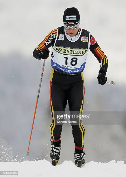 Claudia Kuenzel of Germany competes during the women's 09 km sprint of the Cross Country World Cup on January 22 2006 in Oberstdorf Germany