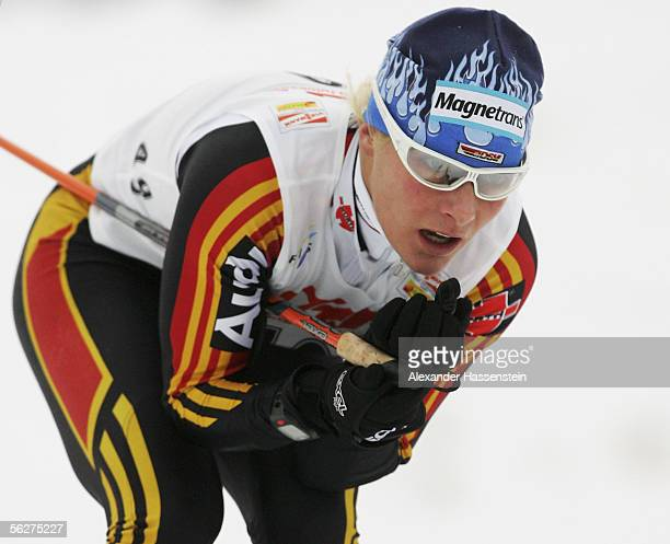 Claudia Kuenzel of Germany in action during the 10 kilometres Women FIS World Cup on November 26, 2005 in Kuusamo, Finland.