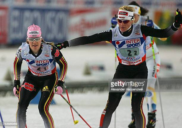 Claudia KuenzelNystadt and Evi SachenbacherStehle of Germany change during the Women's Team Sprint Free Event during the FIS Nordic World Ski...