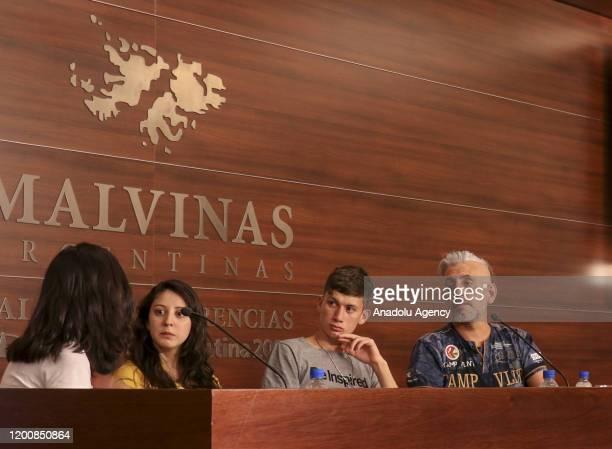 Claudia Labeguerie Daniel Sgardelis Ezequiel Villalonga sexual abuse victims of Provolo Institute in western Mendoza city of Argentina attend a press...