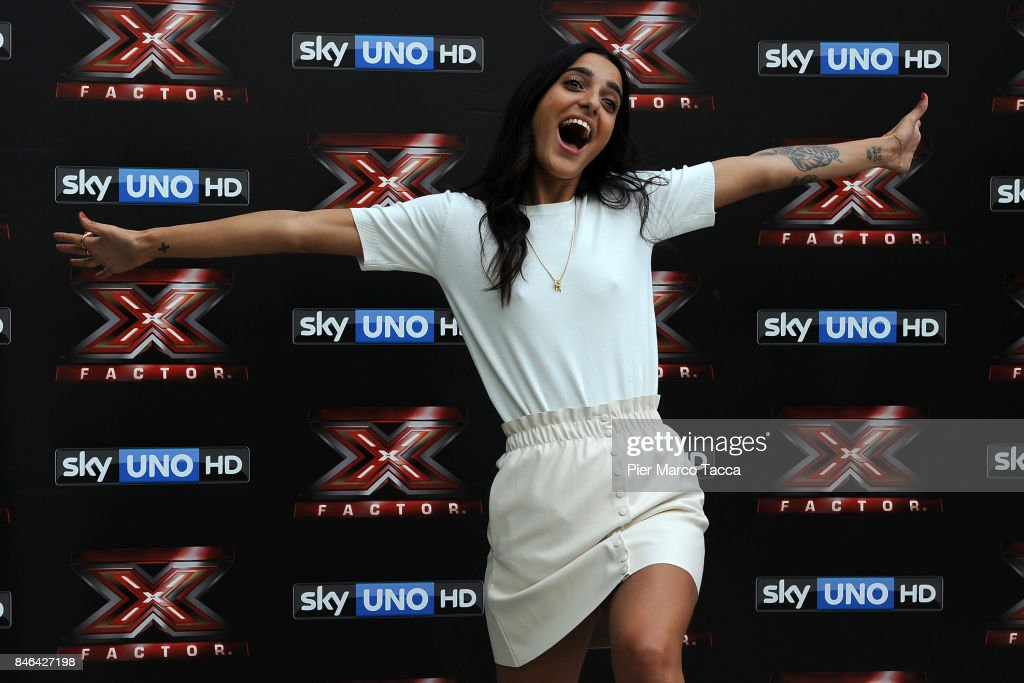 Claudia Lagona also known as Levante attends X Factor 11 Photocall on September 13, 2017 in Milan, Italy.