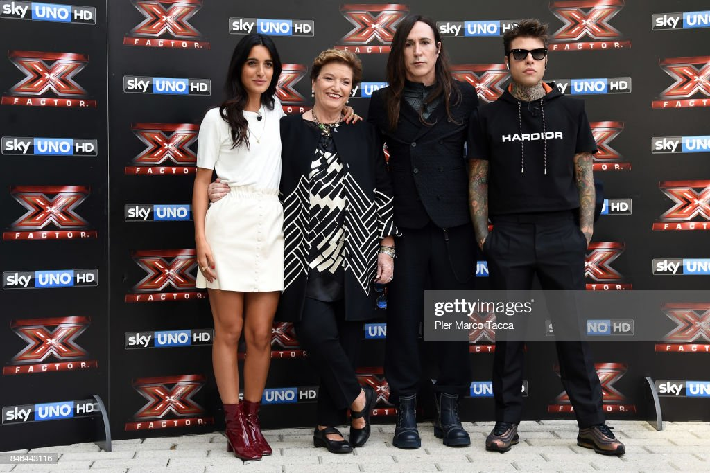 Claudia Lagona also known as Levante, Mara Maionchi, Manuel Agnelli and Fedez attend X Factor 11 Photocall on September 13, 2017 in Milan, Italy.