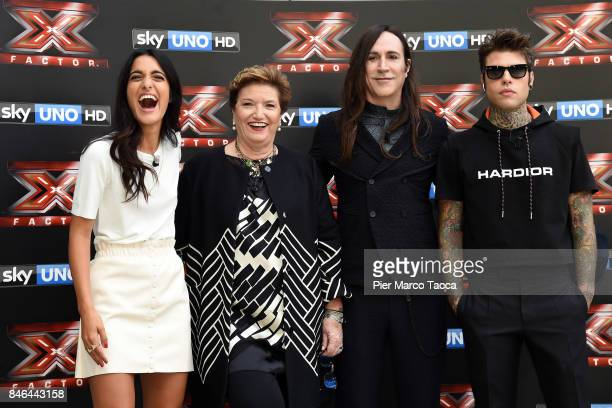 Claudia Lagona also known as Levante Mara Maionchi Manuel Agnelli and Fedez attend X Factor 11 Photocall on September 13 2017 in Milan Italy