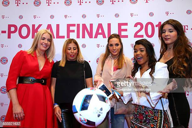 Claudia Lahm Wahiba Ribery Cecile Benatia and Guests arrives for the FC Bayern Muenchen champions party at Deutsche Telekom's representative office...