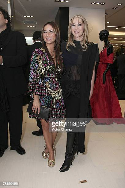 Claudia Lizaldi and actress Edith Gonzalez attend the opening of Saks Fifth Avenue Store November 27 2007 in the Santa Fe district of Mexico City...
