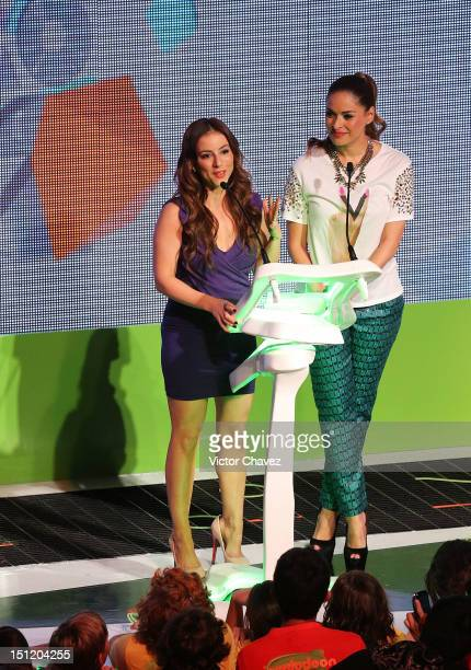 Claudia Lizaldi and Galilea Montijo present the prosocial award onstage at the Kids Choice Awards Mexico 2012 at Pepsi Center WTC on September 1 2012...