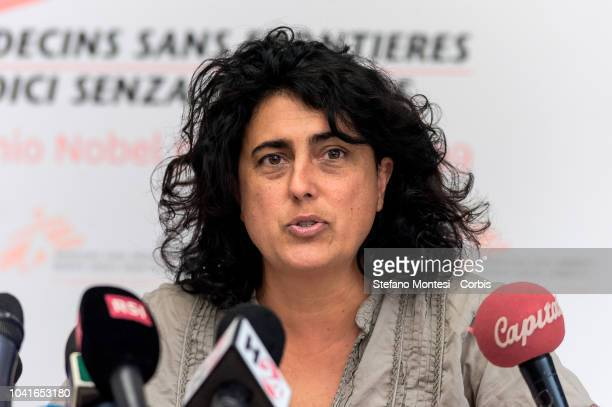Claudia Lodesani President of Doctors Without Borders Italy NGO running with SOS Mediterranee the Aquarius rescue ship during a press conference on...