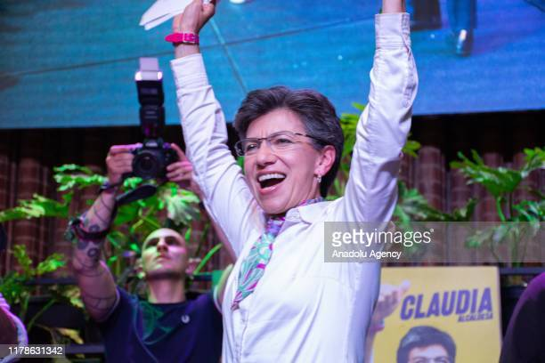 Claudia Lopez, new Mayor of Bogota, greets her supporters after she won the election against her main contender Carlos Fernando Galan in Bogota,...